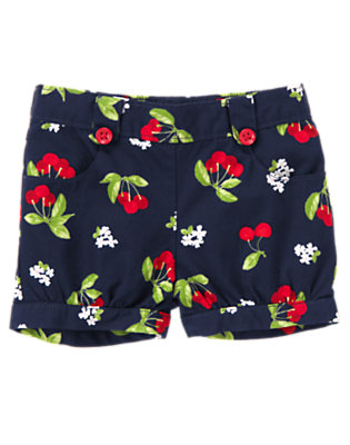 Toddler Girls Navy Cherry Button Cherry Print Short by Gymboree