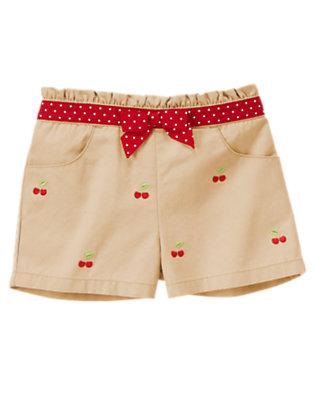 Toddler Girls Khaki Ruffle Embroidered Cherry Short by Gymboree