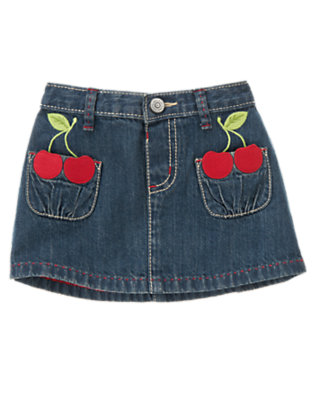 Toddler Girls Denim Cherry Jean Skirt by Gymboree