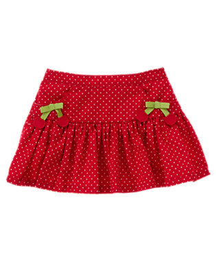Toddler Girls Cherry Red Mini Dot Cherry Bow Dot Skirt by Gymboree