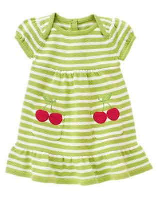 Apple Green Stripe Cherry Pocket Stripe Sweater Dress by Gymboree