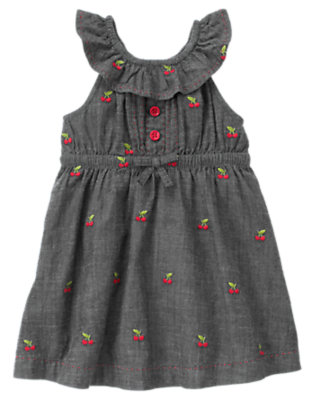 Chambray Ruffle Embroidered Cherry Chambray Dress by Gymboree