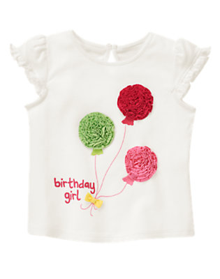 Ivory Birthday Girl Balloon Tee by Gymboree