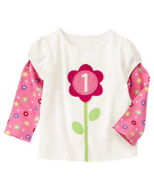 Ivory 1st Birthday Flower Tee by Gymboree