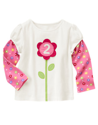 Ivory 2nd Birthday Flower Tee by Gymboree