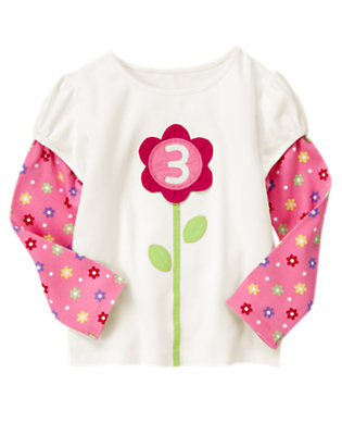 Ivory 3rd Birthday Flower Tee by Gymboree