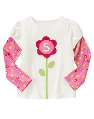 Ivory 5th Birthday Flower Tee by Gymboree