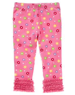 Toddler Girls Pink Flower Flower Tulle Ruffle Legging by Gymboree