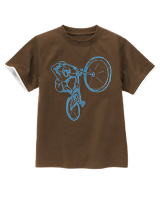 Chocolate Brown Bike Wheelie Tee by Gymboree