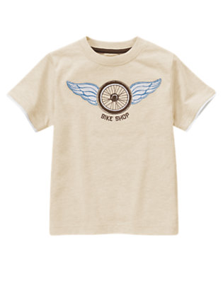 Oatmeal Heather Winged Wheel Tee by Gymboree