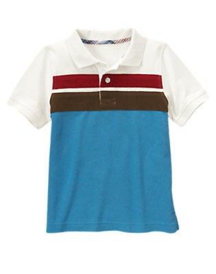 Boys Trailblazer Blue Chest Stripe Pique Polo Shirt by Gymboree