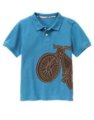 Boys Trailblazer Blue Bicycle Pique Polo Shirt by Gymboree
