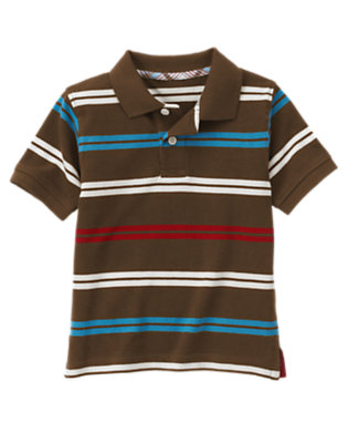 Boys Chocolate Brown Stripe Stripe Pique Polo Shirt by Gymboree