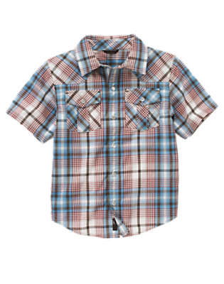 Boys Trailblazer Blue Plaid Plaid Western Shirt by Gymboree