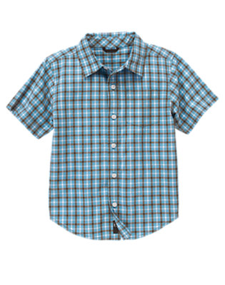 Boys Trailblazer Blue Check Trailblazer Blue Check Plaid Shirt by Gymboree