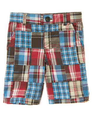 Boys Trailblazer Blue Patchwork Plaid Patchwork Short by Gymboree