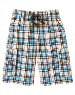 Boys Active Blue Plaid Pull-On Plaid Cargo Short by Gymboree