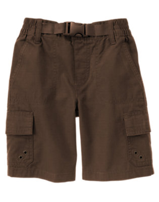 Boys Chocolate Brown Pull-On Belted Cargo Ripstop Short by Gymboree