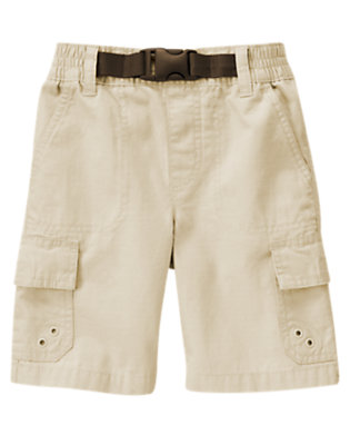 Boys Khaki Pull-On Belted Cargo Ripstop Short by Gymboree