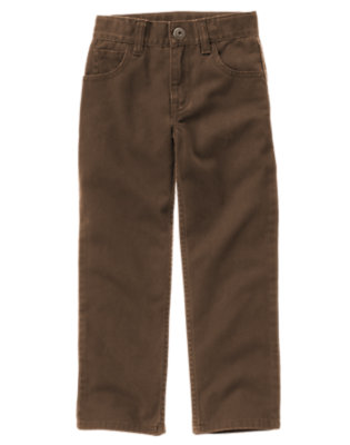 Chocolate Brown Twill Pant by Gymboree