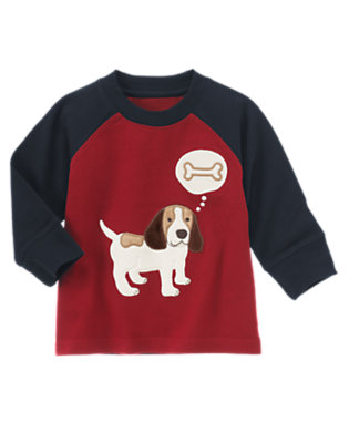 Academy Red Puppy Raglan Tee by Gymboree