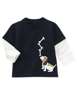 Gym Navy Puppy Double Sleeve Tee by Gymboree