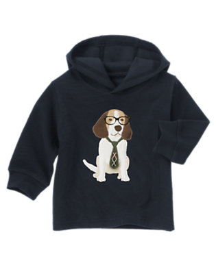 Gym Navy Puppy Hooded Pullover by Gymboree