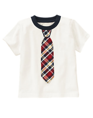 Ivory Plaid Tie Ringer Tee by Gymboree