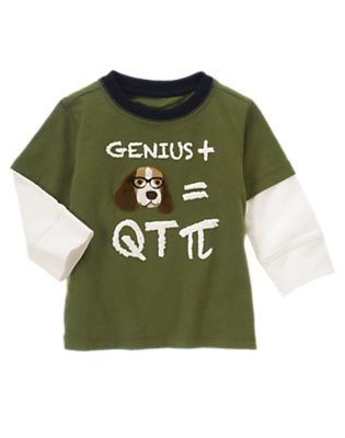 Moss Green Genius Puppy Double Sleeve Tee by Gymboree