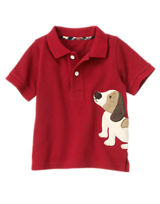 Academy Red Puppy Pique Polo Shirt by Gymboree