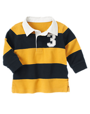 Gym Navy Pieced Stripe Rugby Shirt by Gymboree