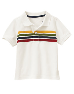 Ivory Stripe Pique Polo Shirt by Gymboree