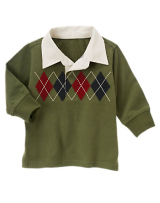 Moss Green Argyle Rugby Shirt by Gymboree