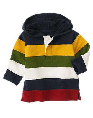 Gym Navy Pieced Stripe Hoodie by Gymboree