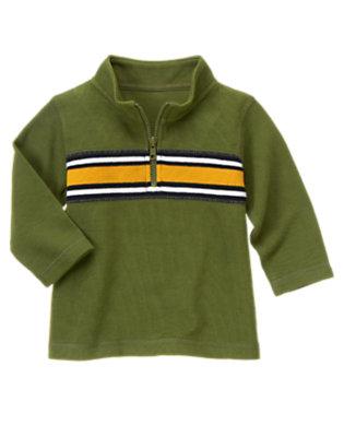 Moss Green Stripe Half-Zip Pullover by Gymboree