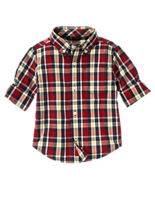 Academy Red Plaid Academy Red Plaid Shirt by Gymboree