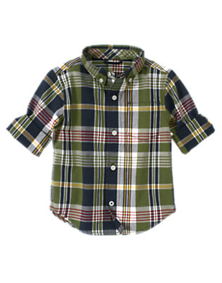 Moss Green Plaid Moss Green Plaid Shirt by Gymboree