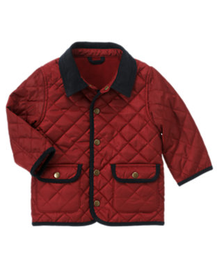 Academy Red Quilted Barn Jacket by Gymboree