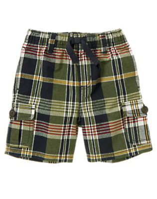 Moss Green Plaid Pull-On Plaid Cargo Short by Gymboree