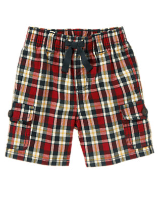Academy Red Plaid Pull-On Plaid Cargo Short by Gymboree
