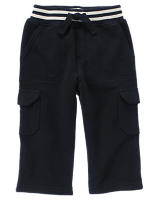 Gym Navy Pull-On Fleece Cargo Pant by Gymboree