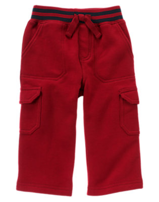 Academy Red Pull-On Fleece Cargo Pant by Gymboree