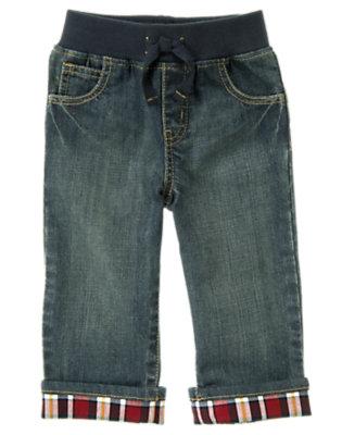 Denim Plaid Cuffed Pull-On Jean by Gymboree