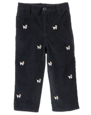 Gym Navy Puppy Embroidered Corduroy Pant by Gymboree