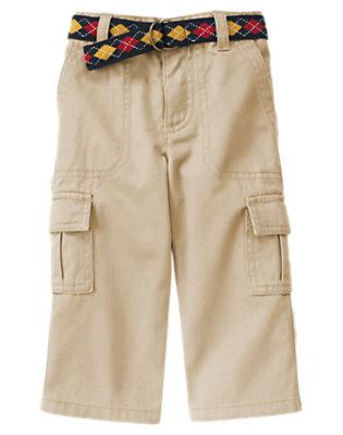 Khaki Belted Twill Cargo Pant by Gymboree