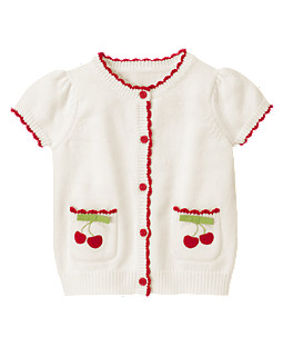 Bow Cherry Pocket Sweater Cardigan