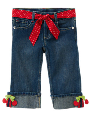 Denim Cherry Bow Belted Jean by Gymboree