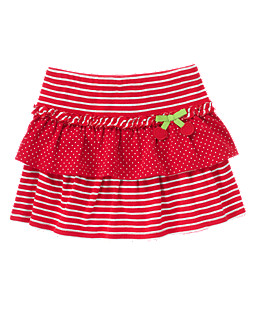 Stripe Dot Tiered Skirt