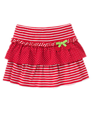 Cherry Red Mini Dot Stripe Dot Tiered Skirt by Gymboree