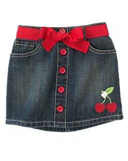 Cherry Belted Jean Skort